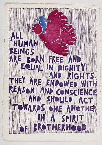 Artigo 1 da Declaração Universal dos Direitos Humanos (Foto: Acervo Otávio Roth)