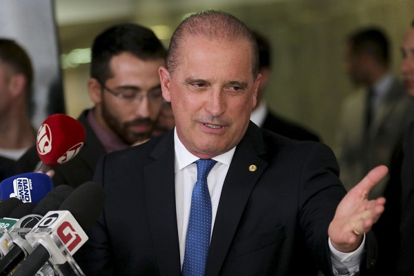 O ministro Onyx Lorenzoni, em entrevista no Palácio do Planalto