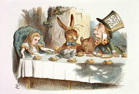 Ilustração de banquete em Alice no País das Maravilhas