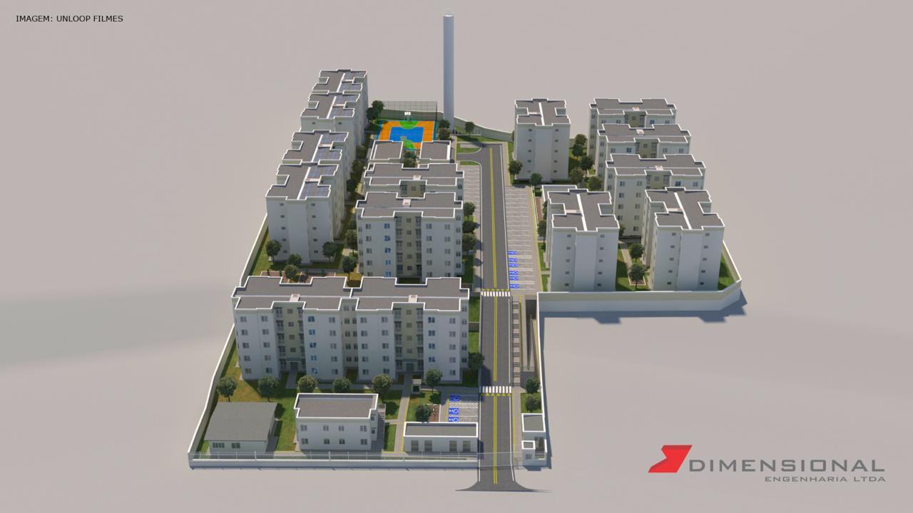 Maquete virtual dos três condomínios onde era o prédio do IBGE